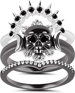 خاتم KAMONI من الفضة الاسترليني بتصميم جمجمة مكعبة زركونيا مجوهرات هدية خواتم تراص للنساء الفتيات