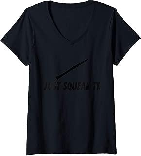 Womens Clarinet player gift season fun love squeak it shirt reed V-Neck T-Shirt