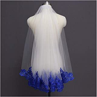 HXSD Royal Blue Sequined Lace White Ivory Bridal Veil One Layer Short Shine Wedding Veil with Comb (Color : Ivory, Item Length : 100cm)