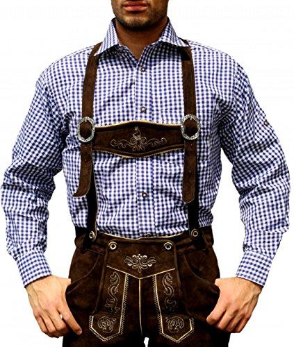 German Wear Trachtenhemd für Trachtenlederhosen Oktoberfest Trachtenmode Blau/karo 100% Baumwolle, Hemdgröße:3XL