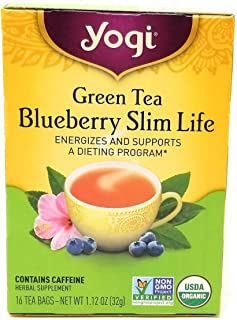 Yogi Tea Green Tea Blueberry Slim Life, Herbal Supplement, Tea Bags, 16 ct, 2 pk