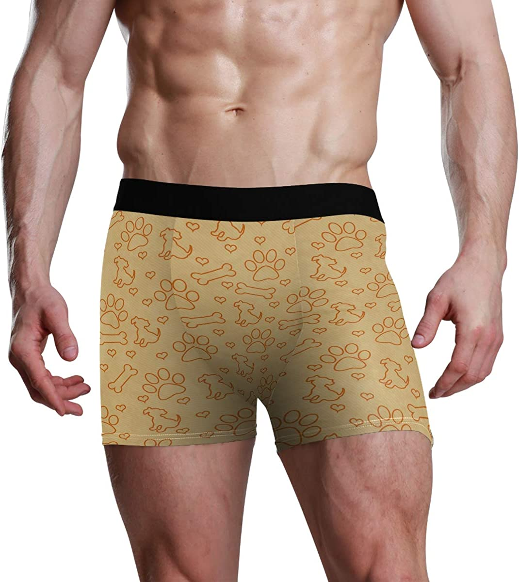 Mens Underwear Boxers Orange Dog Paw Prints Puppy ComfortSoft Boxer Briefs Breathable Bikini
