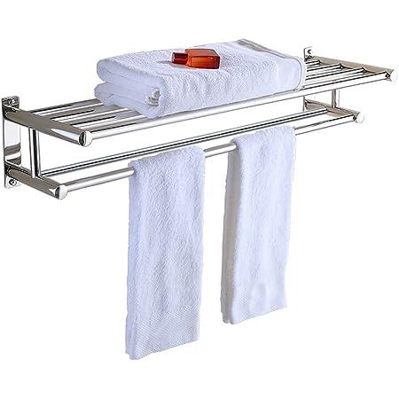 Amazon Com Stainless Steel Double Towel Bar 23 Inch Wih 5 Hooks Bathroom Shelves Towel Holders Bath Towel Rack Bathroom Shelves Home Improvement