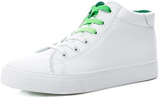 Spring Ladies High Top Shoes Casual Flat-Bottomed Sneakers Fashion Leather Lace up Skateboard Shoes (Color : White, Size : 37)