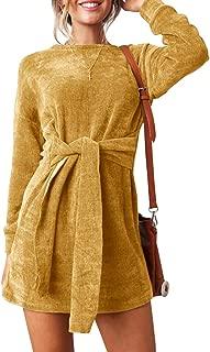 Womens Velvet Dress Long Sleeve Slim Fit Tie Waist Party Midi Fall Dresses