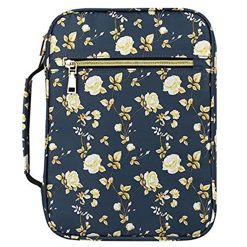 MoKo Bibelhülle, Buchumschlag Hülle für Bibel in Standardgröße Reißverschluss Tragetasche Handtasche mit Griff Lesezeichen Geschenk für Männer Frauen, 10 x 7.5 x 2.5 Zoll, Blaue Blume