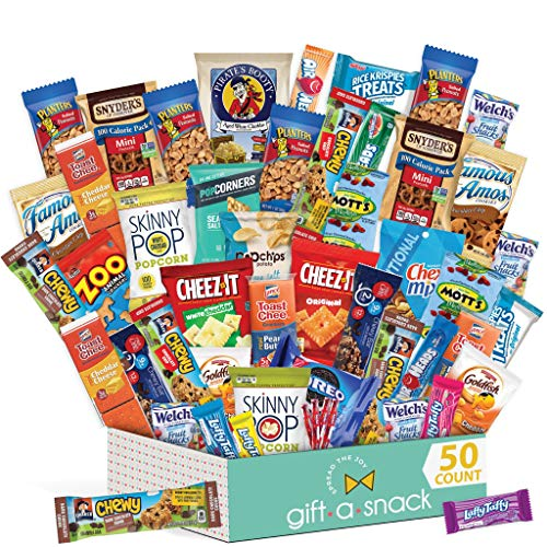 Snack Box Variety Pack (50 Count) Candy Gift Basket for Teens - College Student Care Package - Food Arrangement Chips, Cookies, Bars - Birthday Package for Dad, Men, Women, Boys, Girls, Kids, Adults