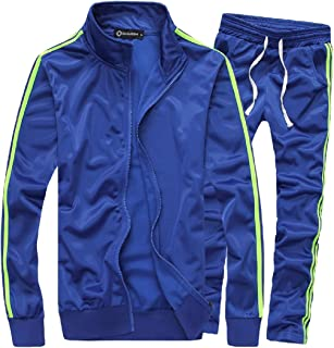 Mens Casual Activewear Full Zip Warm Tracksuit Sports Set Sweat Suit