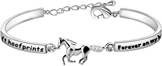 Zuo Bao Horse Memorial Jewelry Loss of Horse Sympathy Gift in Memory of Horse Gift You've Left Hoofprints Forever On My Heart Bracelet Horse Charm