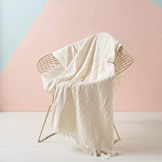 SIMPLEOPULENCE Simple&Opulence Cotton Throw Blanket Waffle Weave Cable Knit Woven with Tassels Solid Cozy Blanket Scarf Shawl Farmhouse Decoration (White)