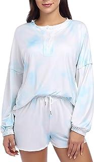 طقم بيجامة للنساء مجموعات بي جي ملابس نوم كاجوال طباعة صبغة طويلة الأكمام قميص هينلي وشورت PJs مجموعة