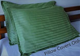 Uppercut Luxurious 100% Cotton Breathable Striped Pillow Covers - 300 Thread Count, 18 x 28 inch - Dark Green, Set of 2