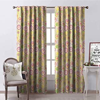 GloriaJohnson Geometric Wear-Resistant Color Curtain Circular Disc Shaped Rounds with Pastel Toned Spots Creative Concept Waterproof Fabric W52 x L54 Inch Yellow Peach Lime Green