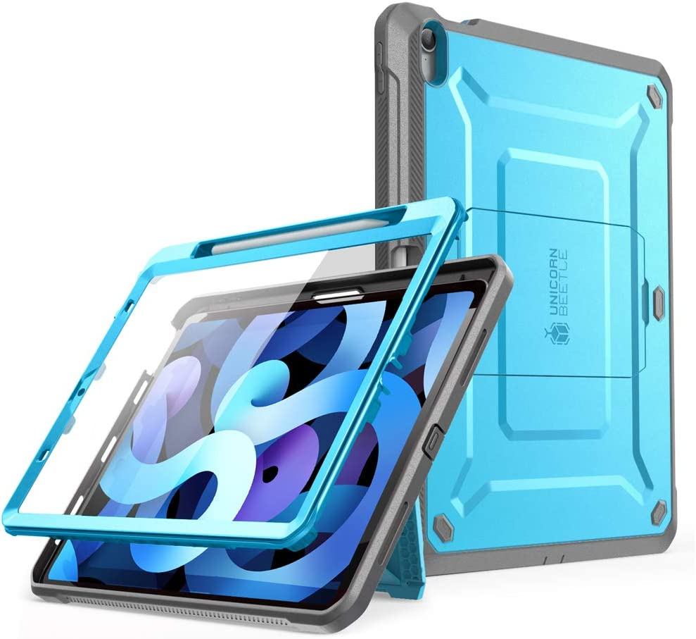 SUPCASE Unicorn Beetle Pro Series Case Designed for iPad Air 4 (2020) 10.9 Inch, with Pencil Holder & Built-in Screen Protector Full-Body Rugged Heavy Duty Case (Blue)