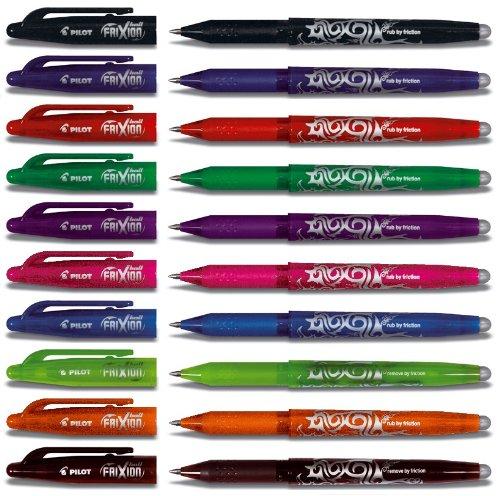 Großes Pilot Tintenroller Frixion (radierbar) Set BL-FR7 im prakischen Geschenketui - Alle 10 verschiedenen Farben sortiert incl. der neuen Farben, Strichstärke 0,4 mm