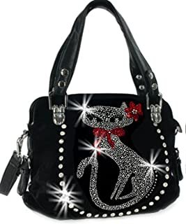 Zzfab Double Handles Rhinestone Cat Purse
