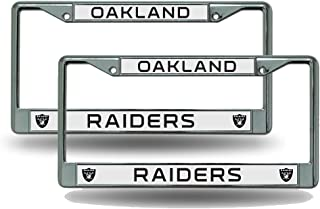Rico Industries NFL Chrome License Plate Frame, Oakland Raiders, 2 Pack