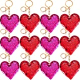 Trounistro 30 Pieces Valentine Keychain Sequin Heart Keychain Valentine's Day Gift for Valentine's Day Party Decaration Supplies, 2 Colors