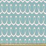 ABAKUHAUS Turquesa Tela por Metro, Líneas Curvadas Festivas, Decorativa para Tapicería y Textiles del Hogar, 1M (148x100cm), Blanco Y Azul Claro