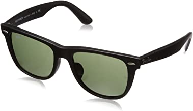 RAY-BAN RB2140F Original Wayfarer Asian Fit Sunglasses, Matte Black/Green, 54 mm