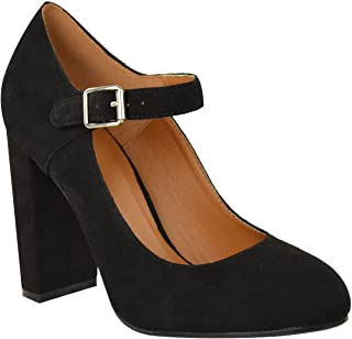 Womens Block High Heels Court Shoes Mary Jane Strappy Formal Office Size