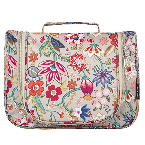 Toiletry Bag Stylish, Yeiotsy Retro Flowers Hanging Travel Toiletry Bag Floral Makeup Bag Cute Cosmetic Organizer for Women (Khaki)