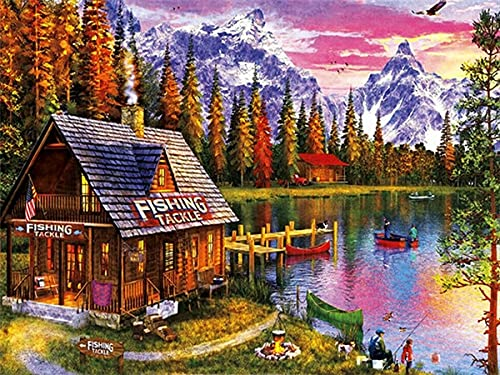 5D DIY diamante bordado lago completo taladro redondo diamante pintura paisaje mosaico Kit de diamantes de imitación decoración de otoño A6 50x70cm