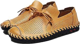 Men Shoes Summer Pu Leather Shoes Light, Soft, Tough, (Color : Yellow, Size : 50)