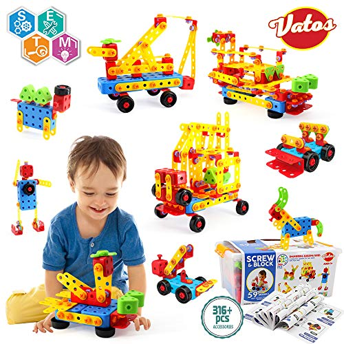 VATOS Building Toy STEM Learning Toy 316 Pcs Creative Construction Toy Screw & Block Toy Set Educational Engineering Blocks for Ages 3-10 Year Old Boys & Girls | Best Toy Gift for Kids Birthday