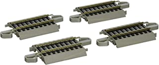"""Bachmann Trains - Snap-Fit E-Z TRACK 4.50"""" STRAIGHT TRACK (4/card) - NICKEL SILVER Rail With Gray Roadbed - HO Scale"""