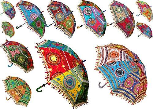 Yuvancrafts Indischer dekorativer handgemachter Designer-Baumwoll-Mode mehrfarbiger Strandschirm UV-Schutz Regenschirm, Sonnenschirm, Stickerei, Boho-Sonnenschirm, indische Hochzeitsschirme (5 Stück)