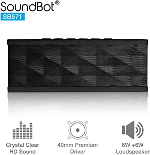 SoundBot SB571 Bluetooth Wireless Speaker for 12 hrs Music Streaming & Hands-Free Calling w/ 6W + 6W 40mm Driver Speakerphone, Built-in Mic, 3.5mm Audio Port, Rechargeable Battery for Indoor & Outdoor Use