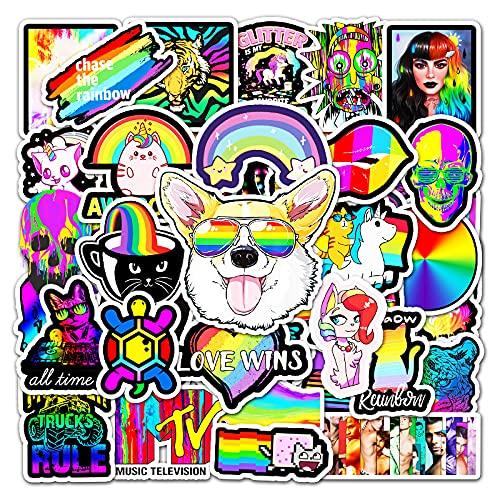 JZLMF 50 Pegatinas de Graffiti Personalizadas de Color arcoíris, Casco de refrigerador para Scooter, Taza de Agua, Pegatinas Decorativas Impermeables para niños y niñas