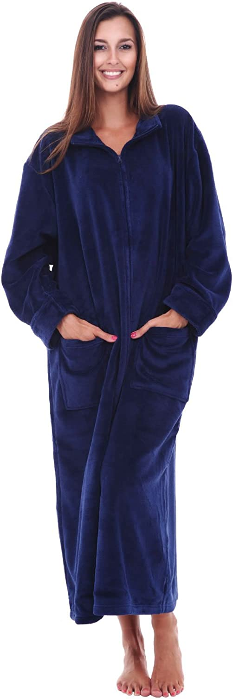 Alexander Del Rossa Womens Relaxed Fit ZipFront Fleece Robe, Zipper Bathrobe