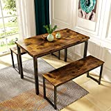 AWQM Dining Room Table Set, Kitchen Table Set with 2 Benches, Ideal for Home, Kitchen and Dining Room, Breakfast Table of 43.3x23.6x28.5 inches, Benches of 38.5x11.8x17.5 inches, Rustic Brown