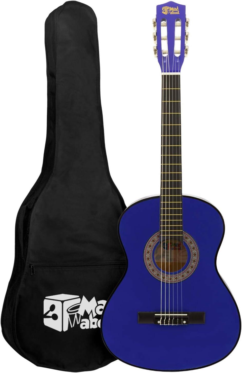 Mad About Ma-Cg07 Guitarra Clásica Azul Tamaño 1/2 Guitarra Clásica - Colorida Guitarra Española con Bolsa de Transporte, Correa, Púas y Cuerdas de Repuesto