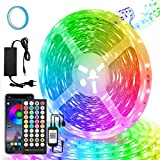 LED Strip 20M, Bluetooth LED Streifen Sync mit Musik, APP-Steuerung und Fernbedienung 40 Tasten, RGB 5050 600 LED Stripes mit 24V Netzteilfür Party, Raum, Schlafzimmer, TV, Küche, Weihnachten Deko