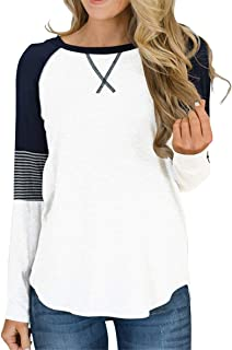Women's Long Sleeve Color Block Tunic Tops Crew Neck Casual Shirt Striped Blouses