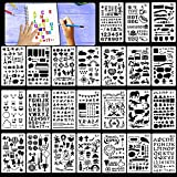 HOWAF Lot de 24 Pochoir Bullet Journal réutilisables Pochoir à Dessin pochoirs Peinture pour Enfant, Sculpture, Chiffres pochoirs Lettres Alphabet, Scrapbooking, décoration
