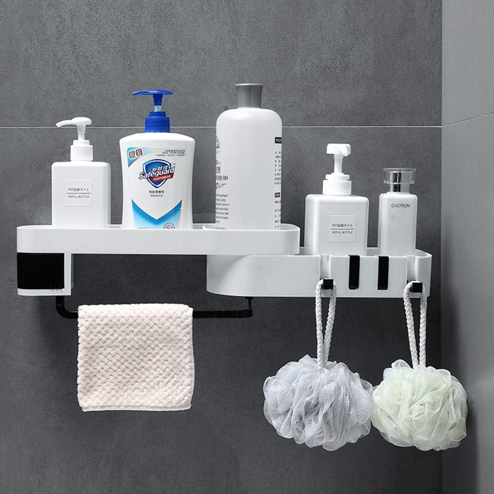LeChamp Shower Storage Shelf Without Drilling Self Adhesive Shower Shelf Organizer with 4 Hooks for Bathroom Kitchen Storage Wall Mounted Bath Corner Storage Holder Shower Caddy Bracket Black