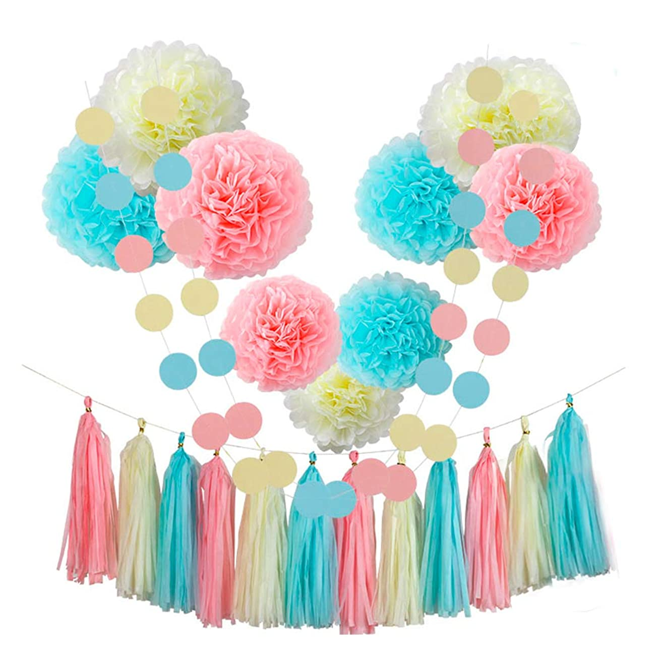CHOTIKA 23 pcs Tissue Paper Flowers Pom Poms Party Decorations Tassel Garland for Baby Girl Unicorn Birthday Party Supplies Bridal Shower Decorative Decor 100% Premium Paper(Blue, Pink, Yellow)