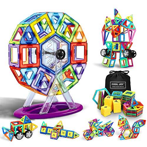 Flyfun Bloques Magneticos Magneticos, Juguetes Construcciones Magneticas para Niños, 117 Piezas Bloques Magnéticos 3D Juguetes Construcción, con Trae un Libro Tutorial, una Bolsa de Almacenamiento
