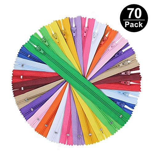 Komake [70 Stück] Reißverschluss, Nylon Reißverschlüsse 30 Farben, 20cm Lang, 2.5cm breit für Kleidung Tasche Mäppchen Kissenbezug
