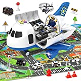Transport Cargo Airplane Toys with Police Cars Toy Set and Play Mat,Plane with Light Up and Sounds,Birthday Gift for 3 4 5 6 Years Old Kids Boys Girls(Medium)