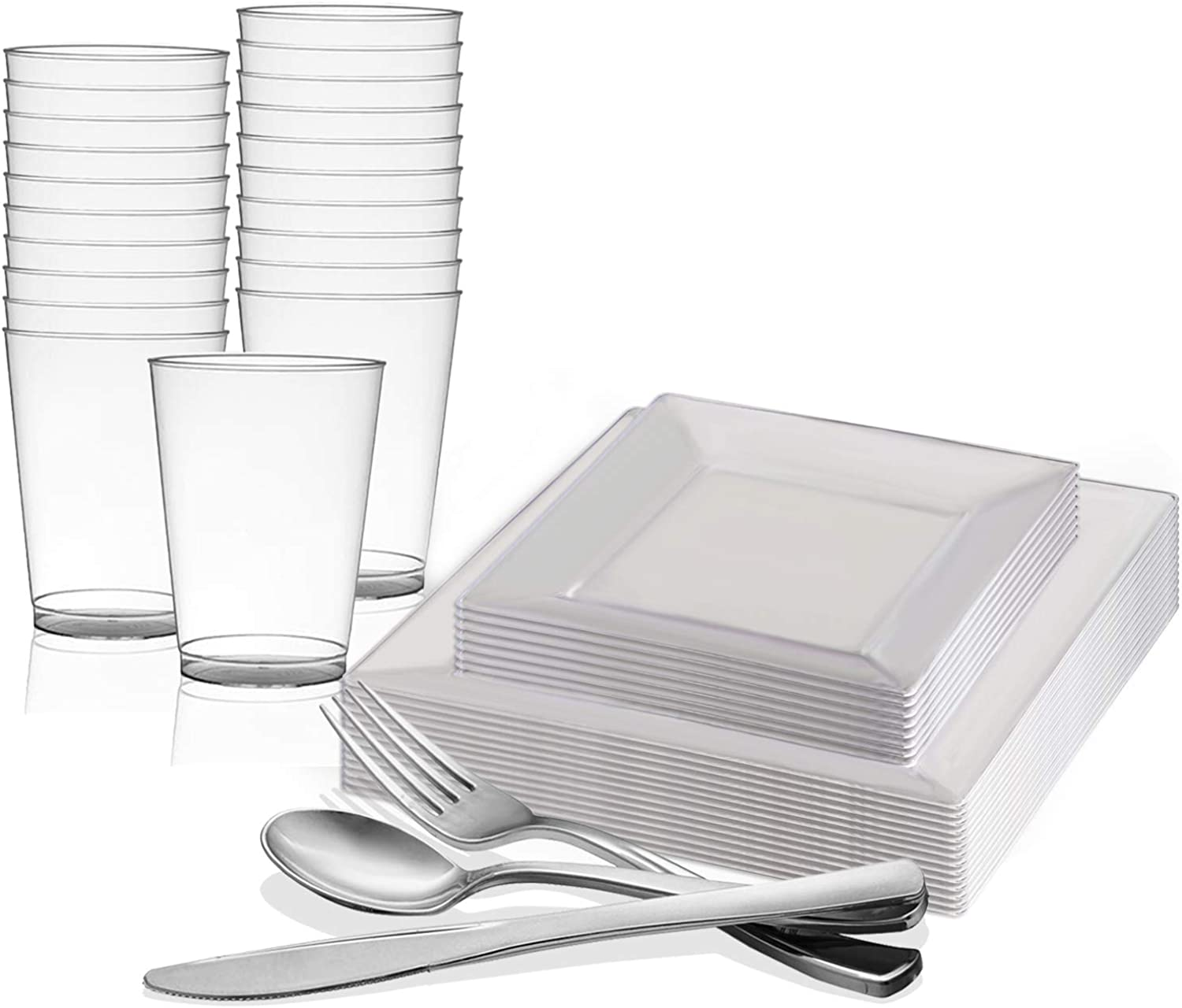 Disposable Plastic Dinnerware Set for 60 Guests - Includes Fancy Square Clear Dinner Plates, Dessert Salad Plates, Silverware Set Silver Cutlery & Cups For Wedding, Birthday Party & Other Occasions