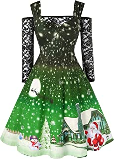 Belone Christmas Dress Plus Size Winter Santa Claus Printed Off Shoulder Lace Patchwork Above Knee Colorful Party Dress