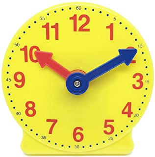hand2mind-4731 Learning Clock, Learn to Tell Time with Geared Practice Clock, Plastic, 4 Inches