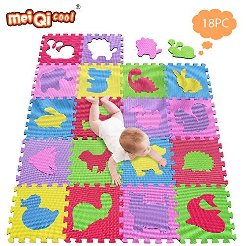 meiqicool Puzzlematte Kinderspielteppich Spielmatte Spielteppich Schaumstoffmatte Kinderteppich, Maß je Matte ca. 30 x 30cm 18 STÜCK 5354