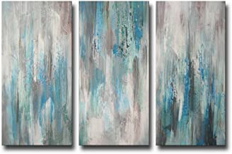 ARTLAND Hand-Painted 'Sea of Clarity' Oil Painting Gallery-Wrapped Canvas Art Set 3-Piece 12x24inchesx3 FCP-087-1