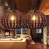 Bamboo Lantern Pendant Lamp, Retro Japanese Style E29 Chandelier Hanging Light Ceiling Lighting Fixture for Living Room Bedroom Restaurant Cafe Teahouse Bar Dining Room Club
